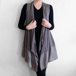 Eileen Fisher Linen Knit Silk Trim Draped Vest